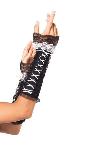 Перчатки Lace Up Opaque Arm Warmer With Lace Ruffle Trim